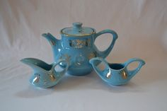 This offering is for a vintage 1940s Dalton Pearl China Tea set in Robins egg blue and hand decorated with 22 karat gold. This set is absolutely