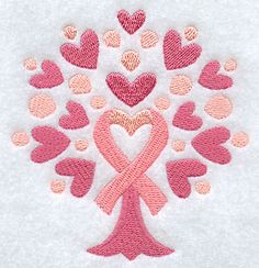Machine Embroidery Designs at Embroidery Library! - Color Change - D8128 - breast cancer awareness ribbon and hearts tree