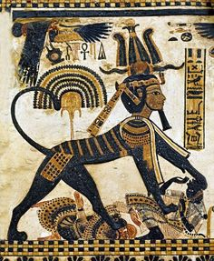 Tutankhamun represented as a sphinx, crushing the bodies of Egypt's enemies. From a panel on a decorated box.