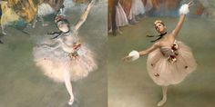 """Misty Copeland puts a 21st-century twist on history's famous ballet works.Copeland re-creating Degas' """"The Star."""""""