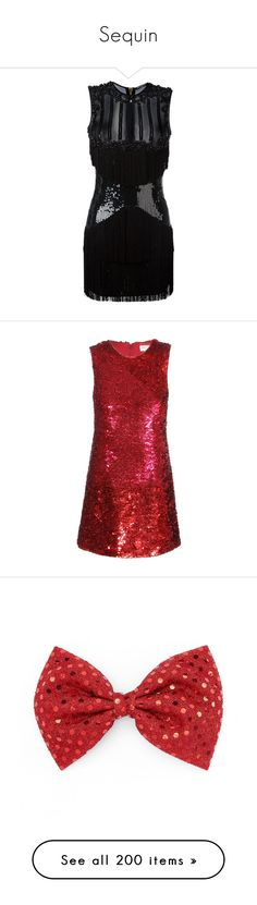 """""""Sequin"""" by glitterals ❤ liked on Polyvore featuring dresses, balmain, black, ruched mini dress, short dresses, sleeveless cocktail dress, short sequin cocktail dresses, sequin cocktail dresses, vestidos and red"""