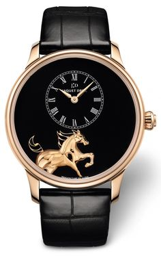 Jaquet Droz Petite Heure Minute Horses 43mm ($57,800), features a bas-relief sculptural illustration of a wild mustang, a horse native to the American northwest, in rose gold. The dial is in black grand feu enamel. Jaquet Droz's master craftsmen have used the champlevé technique to highlight the motion of the horse's mane and tail, both of which have been filled in with grand feu enamel. It is the first use of champlevé in a Jaquet Droz watch.