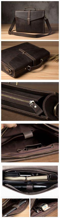 Vintage Style Top Grain Natural Leather Mens Briefcase, Messenger Bag, Laptop Bag 2893