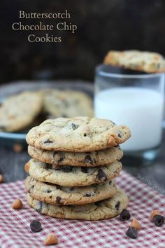 These butterscotch chocolate chip cookies are my favorite chocolate chip cookie recipe because they are soft, gooey and melt-in-your mouth immediately out of the oven. #cookies #chocolate Best Dessert Recipes, Fun Desserts, Delicious Desserts, Bar Recipes, Chocolate Chip Cookies, All You Need Is, Baking Recipes, Cookie Recipes, Muffins