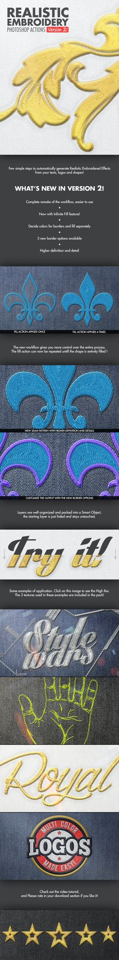 Buy Realistic Embroidery - Photoshop Actions by BlackNull on GraphicRiver. Realistic Embroidery – Photoshop Actions Transform your Text or Logo in a Realistic Embroidered / Stitched element. Best Photoshop Actions, Effects Photoshop, Text Effects, Photoshop Tips, Photoshop Design, Texture Architecture, Nice Comments, Shops, Web Design
