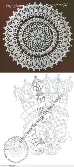 Free Crochet Doily Patterns, Crochet Doily Diagram, Crochet Circles, Crochet Mandala, Crochet Chart, Thread Crochet, Filet Crochet, Crochet Motif, Crochet Lace