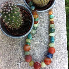 Necklace of Autumn colores. Semi precious stones are Agate, Turquoise, Jade, Aventurine...