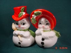 Lefton Christmas Mr. and Mrs. Snowman Salt and Pepper Shakers