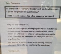Store Wages War Against Showrooming by Charging a $5 Just Looking Fee