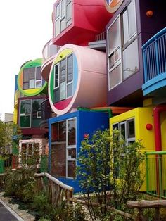 What colorful homes! Now this seems like a fun complex to live in.