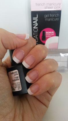 Sensationail UK French manicure using babydoll pink and white tips