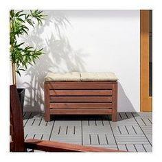 ÄPPLARÖ Storage bench, outdoor, brown stained brown - IKEA
