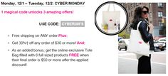 Avon Cyber Monday 2014 Sale: use coupon code: CYBER30FS for free shipping on any order, 30% off $30 or more, and free gift with $50 or more 12/1 and 12/2 #avon #cybermonday #cybermonday2014