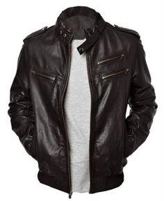 Men's leather jackets, Men black leather jacket, Men belted collar biker jacket, Jackets for men