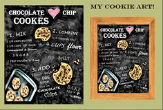 black board, chocolate Chip cookie recipe art, kitchen art, recipe art, art print