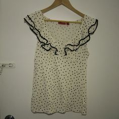 Ruffled polka dot Elle top 60% pima cotton 40% modal Q215 Elle Tops
