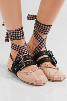 Miu Miu - Lace-up Patent-leather Ballet Flats - Blush - Black Ballet Shoes, Lace Up Ballet Flats, Strappy Flats, Flat Shoes, Gingham Shoes, Evening Flats, Designer High Heels, Clearance Shoes, Pretty Shoes