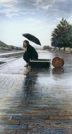 Water colour artist Steve Hanks - Waiting for the Train Walking In The Rain, Singing In The Rain, Rainy Night, Rainy Days, I Love Rain, Parasols, Under My Umbrella, Foto Art, Watercolor Artists