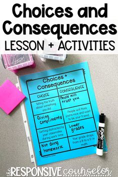 I'll be honest and say that teaching my 4th grade students about choices and consequences seemed like it might be sort of boring to teach, but I was able to create resources and activities to make this guidance lesson really engaging and fun! Read my post to learn more about the videos and collaborative learning activities that really taught my students more about how their actions might be affecting others. Group Therapy Activities, Counseling Activities, Learning Activities, Think Education, Choices And Consequences, Guidance Lessons, Cooperative Learning, Special Education Classroom, Social Emotional Learning