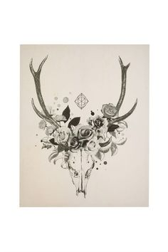 deer skull with flowers -- could i incorporate mountains in this in some way??
