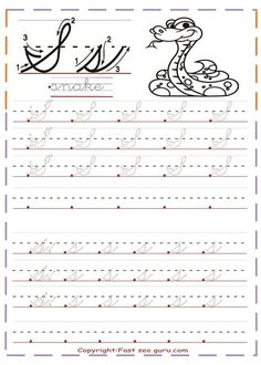 Cursive Uppercase Letters, Cursive Letters Worksheet, Cursive S, Letter Tracing Worksheets, Handwriting Worksheets, Calligraphy Worksheet, Improve Your Handwriting, Cursive Handwriting, Handwriting Practice