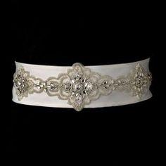 Stunning Beaded Wedding Sash Bridal Belt 19 (White or Ivory)