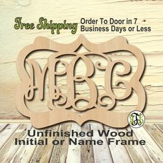 Samantha frame 3 letter monogram personalized cutout 3 initials unfinished wood chris frame monogram name word custom laser cut unpainted spiritdancerdesigns Gallery