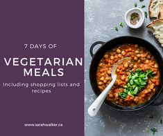 grab this free meal plan for vegetarians with full shopping list and recipes to shake up your weekly meals! Wellness Fitness, Health And Wellness, New Recipes, Vegetarian Recipes, 7 Day Meal Plan, Weekly Meals, Mental And Emotional Health, Meals For The Week, Chana Masala