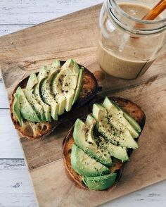 Avocado toast and a chocolate protein smoothie. Healthy clean eating meal prep recipes inspiration i Think Food, I Love Food, Easy Healthy Recipes, Healthy Snacks, Diet Recipes, Dinner Healthy, Eating Healthy, Breakfast Healthy, Lunch Recipes
