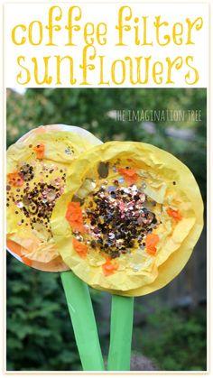 Coffee filter sunflower art!