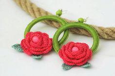 Hoop earrings with crochet roses and leaves