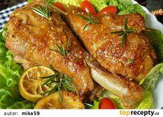 Pečená marinovaná krůtí stehna recept - TopRecepty.cz Malay Food, Top Recipes, Tandoori Chicken, Chicken Wings, Poultry, Food And Drink, Turkey, Meat, Cooking