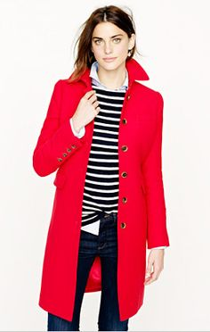 "J.Crew ""metro coat"" in authentic red"