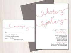 Printable Wedding Invitation and RSVP-Print Yourself-Digital File