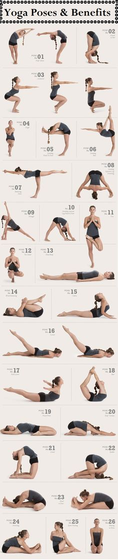 Yoga poses to work every part of the body. I do all these poses in Hot Yoga! I love Hot Yoga :) Fitness Workouts, Fitness Del Yoga, Sport Fitness, Fitness Tips, Fitness Motivation, Health Fitness, Health Yoga, Fitness Weightloss, Fitness Goals