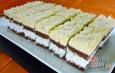 Coconut slices with yolk cream - Czech Desserts, Slovak Recipes, Coconut Slice, Coconut Cream, Oreo Cupcakes, Party Buffet, Wedding Desserts, Vanilla Cake, Yummy Treats