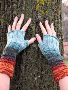 Fingerless Gloves wrist warmers knit black beige by Initasworks, $35.00