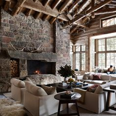 Aaron Paul Crafts a Rustic-Chic Getaway For Himself and His Family - The Idaho native returns to his roots Aaron Paul, Architectural Digest, Architectural Styles, Nate Berkus, Living Room With Fireplace, Living Room Decor, Living Rooms, Living Spaces, Cabin Fireplace