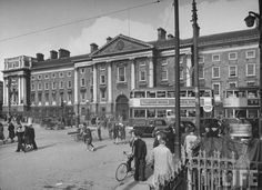Trams on College Green and Trinity College 1940's