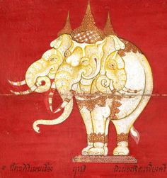 British Library, Or 13652, f. 4v. A treatise on mythical and natural elephants.  Thai, 19th century.