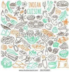 Set Of Doodles, Hand Drawn Rough Simple Indian Cuisine Food Sketches. Different Kinds Of Main Dishes, Desserts, Beverages. Vector Set Isolated On White Background For Cafe Menu, Fliers, Chalkboards - 261703883 : Shutterstock