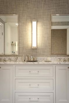 JCS Construction - bathrooms - Mercer Long Box Sconce, white and gray bathroom, gray grasscloth, gray grasscloth wallpaper, grasscloth in ba...