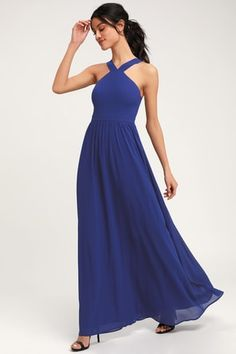 The Air of Romance Royal Blue Maxi Dress will have you feeling the love! A halter neckline and seamed bodice tops this elegant dress with a sweeping maxi skirt. Yellow Maxi Dress, Polka Dot Maxi Dresses, Royal Blue Dresses, Blue Maxi, Floral Maxi Dress, Halter Dresses, Dress Prom, Dress Lace, Strapless Dress