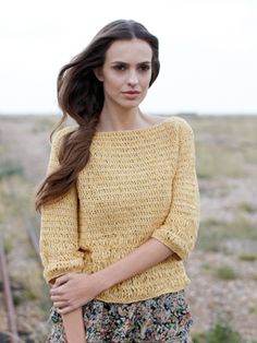 Crochet this womens textured sweater top from Summer Textures, a design by Sarah Hatton using the beautiful yarn Summer Tweed (silk and cotton). With a 3/4 length sleeves, slash neck detail and a superb stitch pattern, this crochet pattern is for the intermediate crocheter.
