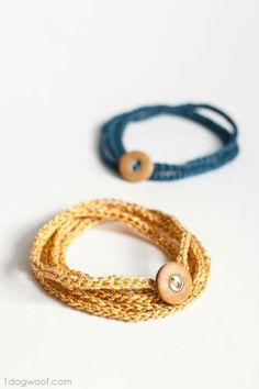 Crochet Wrap Bracelet with Button | DIY Crochet Friendship Bracelet Tutorial & Other DIY Gift Ideas For Couples By DIY Ready. http://diyready.com/24-diy-gifts-for-your-boyfriend-christmas-gifts-for-boyfriend/