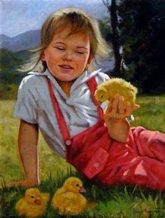 Girl With Ducks -- painting  Giuseppe Cacciapuoti (1969, Italian)