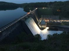Norris Dam at night Tennessee Valley Authority, Mountains, Night, Building, Travel, Beauty, Beautiful, Viajes, Buildings