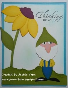 2011  VIDEO TUTORIAL sample from my latest class  Punch Art with a Twist   the Blossoms Punch is the only punch you'll need to make this card. Scroll down for the written instructions  and the video tutorial.   Garden Gnome Card
