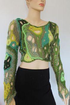 Shades of Green Chunky Freeform Crochet Sweater  - Cropped Sweater - Long Sleeved - Wearable Art - OOAK