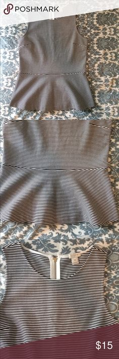 NWOT J Crew top New without tags. Zip back. Length is almost 24 inches. Black and off white. J. Crew Tops
